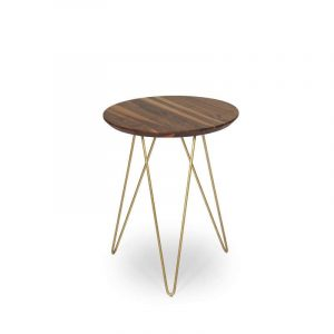 Havana Walnut Accent Table With Black Base