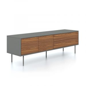 Logan Walnut and Slate Grey Media Center
