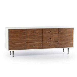 Metro White Large Credenza With Walnut Fronts